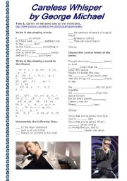 English Worksheets: Grammar Through Songs: Careless Whisper