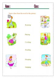 English Worksheets: Draw a line from the word to the picture