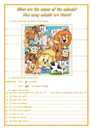 English Worksheet: WHAT ARE THE NAMES OF THE ANIMALS? HOW MANY ANIMALS ARE THERE?