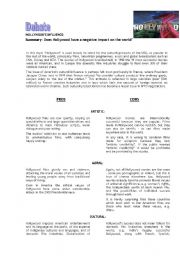 English Worksheet: Debate - Hollywood´s influence
