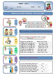 English Worksheet: PERSONAL/OBJECT PRONOUNS - COMBINED PRACTICE