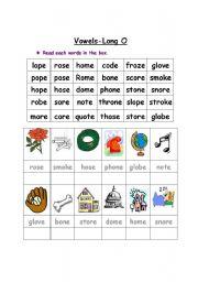 English Worksheet: Vowel- Long O
