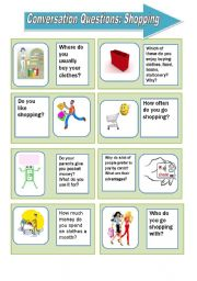 English Worksheet: Conversation questions: shopping