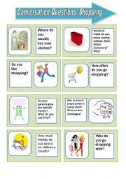 English Worksheet: Conversation questions: shopping