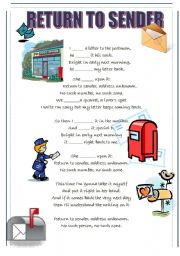 English Worksheet: Return to Sender - Elvis Presley - song lyrics + fill in the gaps