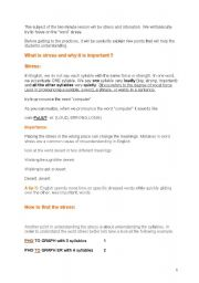 English Worksheet: explaning word stress