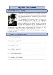 English Worksheets: Charlie Chaplin test