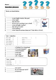 English Worksheets: Questions phrases
