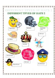 PICTIONARY ON DIFFERENT TYPES OF HATS 2