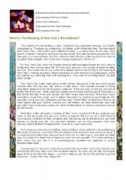 English Worksheet: New Year�s Resolutions (3 pages)