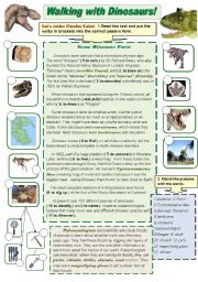English Worksheets: Walking with Dinosaurs! - grammar and vocabulary actiivity set Part1
