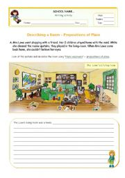 English Worksheet: Describing a messy living-room   using There was/ There were + Prepositions of place