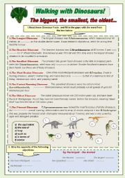 English Worksheets: Walking with Dinosaurs! grammar and vocabulary activity set parts 2 and 3 with keys