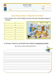 english worksheets describing a room using there is there are prepositions of place. Black Bedroom Furniture Sets. Home Design Ideas