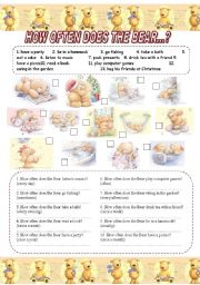 English Worksheets: HOW OFTEN DOES THE BEAR...?