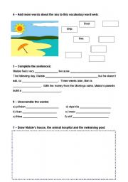 English Worksheet: Extensive Reading - Maisie and the dolphin - page 2/7