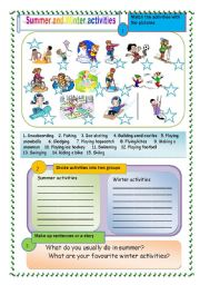 English Worksheets: Summer and Winter activities