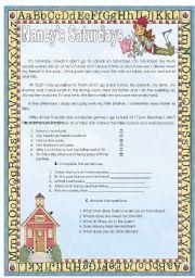 English Worksheets: Nancy�s Saturdays