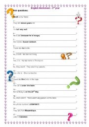 English Worksheets: Asking questions - 5th year