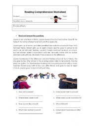 English Worksheets: daily routine reading comprehension activity