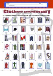 English Worksheet: Clothes pictionary - (36 words) in alphabetical order.