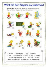 English Worksheet: What did Bart Simpson do yesterday?