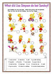 English Worksheet: What did Lisa Simpson do last Sunday?