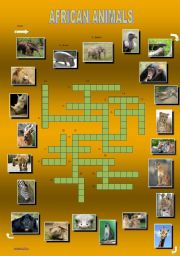 English Worksheet: African animals - a crossword