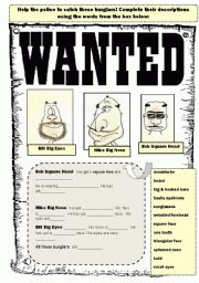 English Worksheets: Wanted! Describing criminal appearance.