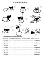 English Worksheet: Where is the cat?
