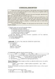 English Worksheets: TIME FOR WRITING,  a personal description