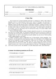 English Worksheet: 9th grade TEST-FAMOUS PEOPLE-CRISTIANO RONALDO