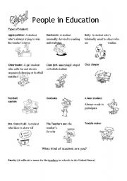 English Worksheets: Vocabulary on Education. part II. People in Education