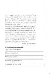 English Worksheets: questions on the text