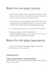 English Worksheet: Role Cards and sample dialogues for role plays on