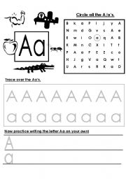 Alphabet letter writing practice – A – G