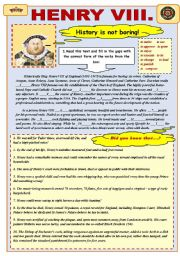 English Worksheet: Henry VIII History is not boring!