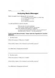 English Worksheets: Analyzing media