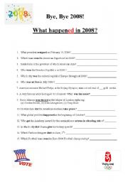 English Worksheets: What happened in 2008?