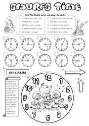 English Worksheet: Smurfs Time