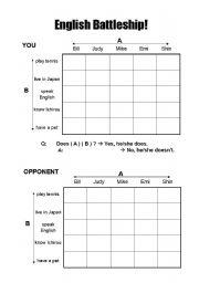 English Worksheet: English Battleship Game/Activity