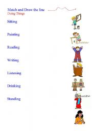 English Worksheets: match and draw the line