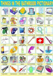 Genial English Worksheet: THINGS IN THE BATHROOM PICTIONARY