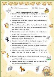 English Worksheet: The Animals riddles
