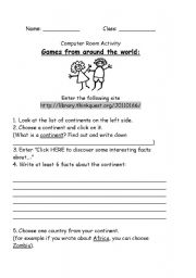 English Worksheet: Games from Around the World - Computer Room Exercise