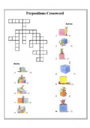 English worksheet: preposition crossword