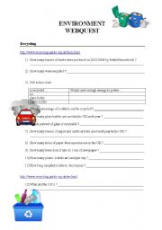 English Worksheet: Environment Webquest