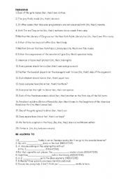 English Worksheet: Pronouns and be allowed to