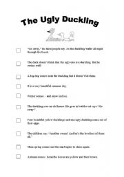 English teaching worksheets: The Ugly Duckling