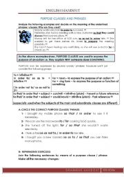 English Worksheet: Purpose clause/ phrases